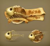 Fish skeletons vector icons Stock Photos