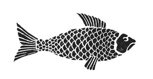 Fish 1. Sketch vintage trafaret style fish royalty free illustration