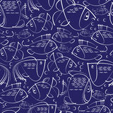 Fish sketches seamless pattern Stock Photos