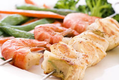 Fish Skewer. Skewer with Red Snapper and Shrimp stock photos