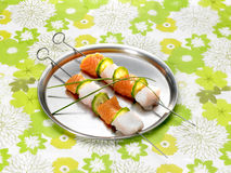 Fish skewers Stock Images