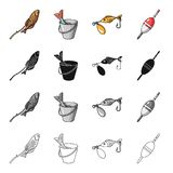 Fish on skewers, catch in a bucket, bait fishing lure, float. Fishing set collection icons in cartoon black monochrome Stock Images