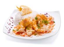Fish slice with rice Stock Photo
