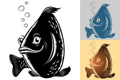 Fish Smile Cartoon Vintage Monochrome Silhouette Hand Drawing Se Royalty Free Stock Photos