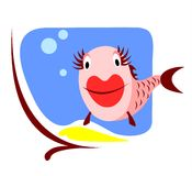 Fish smiles. The amusing smiling stylized small fish in an aquarium Stock Image
