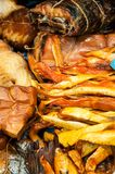 Fish smoked. Fish assortment of smoked delicacies Royalty Free Stock Photography