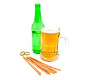 Fish snack and glass of light beer Royalty Free Stock Images