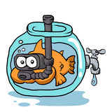Fish with snorkel in the aquarium. Vector illustration Stock Photo