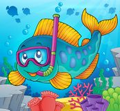 Fish snorkel diver theme image 2. Eps10 vector illustration Royalty Free Stock Photos