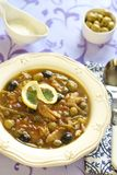 Fish solyanka with capers and olives. Fish solyanka with capers, olives and lemon Stock Photography