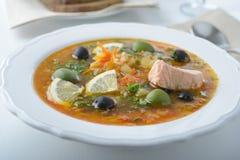 Fish solyanka. Solyanka with salmon, olives, and lemon Stock Photos
