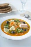 Fish solyanka. Solyanka with salmon, olives, and lemon Stock Images