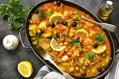 Fish solyanka - traditional dish of russian cuisine.Top view. Stock Images