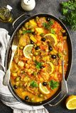 Fish solyanka - traditional dish of russian cuisine.Top view. Royalty Free Stock Photos