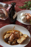 Fish soup. Dish of italian fish soup and some ingredients Stock Photo