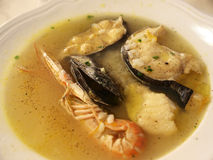 Fish soup. Mussel and prown fish soup Royalty Free Stock Image