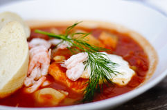 Fish soup with aioli sauce Royalty Free Stock Images