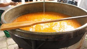 Fish soup at big cauldron stock footage