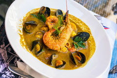 Fish soup - bouillabaisse Stock Photos