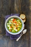 Fish soup in bowl