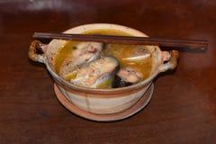 Fish soup bowl stock photos