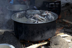 The fish-soup in caldron. The fish market at Awassa lake, Ethiopia. Preparation of the fish-soup in caldron royalty free stock photos