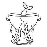 Fish soup in the cauldron icon, outline style. Fish soup in the cauldron icon. Outline illustration of fish soup in the cauldron vector icon for web Royalty Free Stock Images