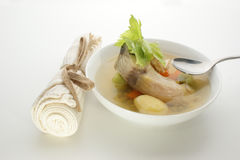 Fish soup with chili, potato and herbs Royalty Free Stock Image