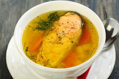 Fish soup closeup. Stock Photos