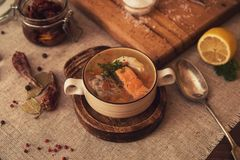 Fish soup composition Royalty Free Stock Photos