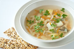 Fish soup with crackers Stock Photos