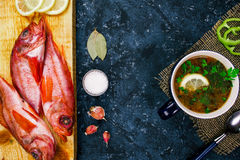 Fish soup flat lay Stock Photo