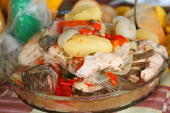 Fish soup on fresh air. In rural area Royalty Free Stock Images