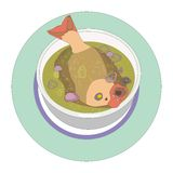 Fish soup. Illustration of a bowl of fish soup whole tropical fish Royalty Free Stock Photo