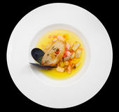 Fish soup isolated on black background Royalty Free Stock Images