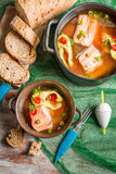 Fish soup made ​​of freshly caught salmon Royalty Free Stock Photo