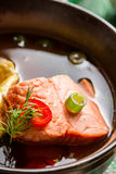 Fish soup made of salmon. Closeup of fish soup made of salmon Royalty Free Stock Images