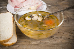 Fish soup peasant with a quenelle Royalty Free Stock Photography