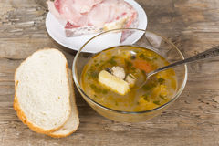 Fish soup peasant with a quenelle Stock Photography