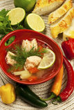 Fish soup with potato and carrots Royalty Free Stock Photos