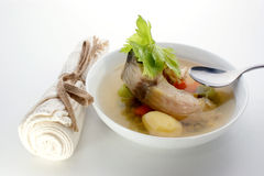 Fish soup with potato and herbs Royalty Free Stock Photography
