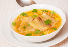Fish soup with potato and noodles Stock Photography