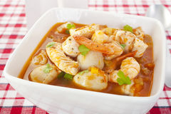 Fish Soup Prawns Scallops Stock Photo