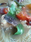 Fish soup put herbs and vermicelli Royalty Free Stock Photography