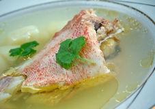 Fish soup with red grouper Stock Photo