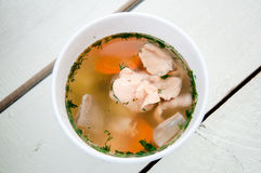 Fish soup with salmon in bowl Royalty Free Stock Images