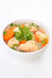 Fish soup with salmon Stock Photo