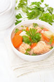 Fish soup with salmon in bowl Royalty Free Stock Photos