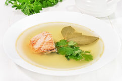 Fish soup with salmon Stock Image