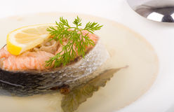fish soup with salmon and lemon Royalty Free Stock Photography